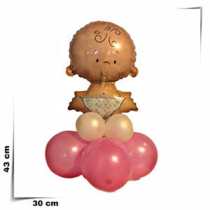 Composizione a palloncini centrotavola nascita bimba