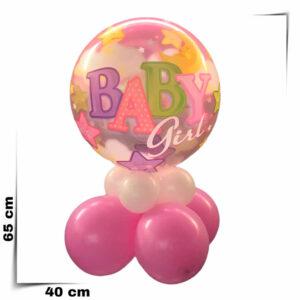 Composizione a palloncino nascita bimba Bubbles trasparente