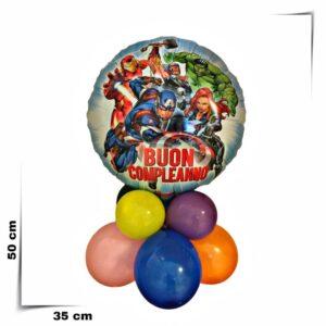 Composizione di palloncini centrotavola con palloncino grande Avengers da 46 cm
