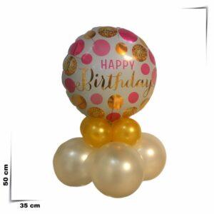 Composizione di palloncini centrotavola con palloncino grande Happy Birthday da 46 cm