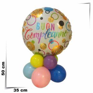 Composizione di palloncini centrotavola con palloncino grande Buon Compleanno da 46 cm