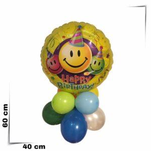 Composizione di palloncini centrotavola con palloncino grande Buon Compleanno Smile Party da 46 cm