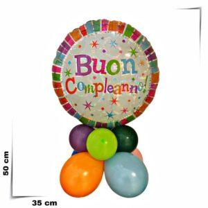 Composizione di palloncini centrotavola con palloncino grande Buon compleanno olografico da 46 cm