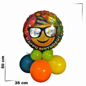 Composizione di palloncini centrotavola con palloncino grande Smile con occhiali da 46 cm
