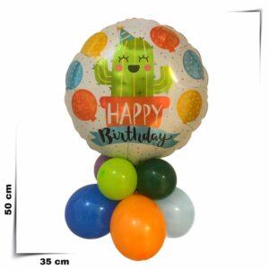 Composizione di palloncini centrotavola con palloncino grande cactus da 46 cm