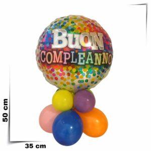 Composizione di palloncini centrotavola con palloncino grande multicoriandolo da 46 cm