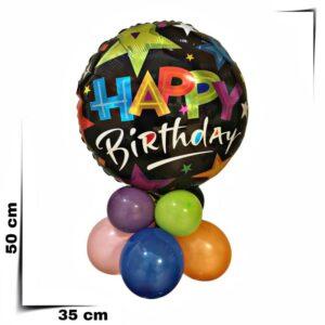 Composizione di palloncini centrotavola con palloncino grande nero con stelle da 46 cm