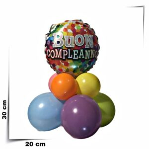 Composizione di palloncini centrotavola Buon Compleanno
