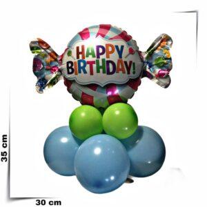 Composizione di palloncini centrotavola Caramella Happy Birthday
