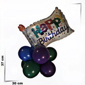 Composizione di palloncini centrotavola Happy Birthday bandiera