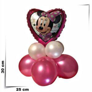 Composizione di palloncini centrotavola a cuore Minnie