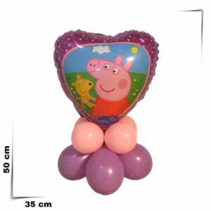 Composizione di palloncini centrotavola con palloncino grande a cuore Peppa Pig da 46 cm