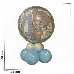 Composizione con palloncino grande un anno bimbo con orsetto diametro 46 cm